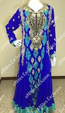 Pakistani Designer Party Wear Embroidery Royal blue Salwar Kameez Bridal M