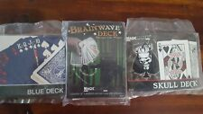 New in Package 3 Decks of Magic Playing Cards Blue, Skull and Brainwave