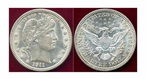 1911 25C- White, Mint Luster & sharp Barber Quarter ++