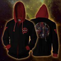 Marvel Superhero Deadpool 3D Hoodie Sweatshirt Men's Jacket Coat Cosplay Costume