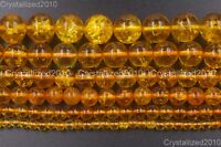 Natural Crystal Quartz Rock Gemstone Round Beads 4mm 6mm 8mm Yellow Citrine 16""