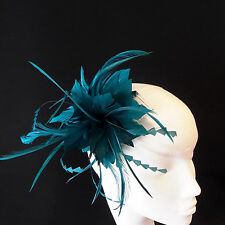 Teal Green Feather Fascinator For Races, Proms , Weddings