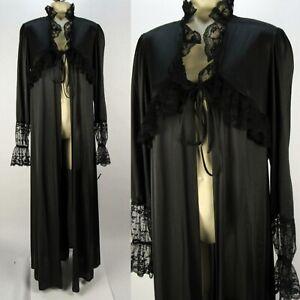 Vintage Ralph Montenero for Blanche Black Lace Tie-Front Long Robe Peignoir M