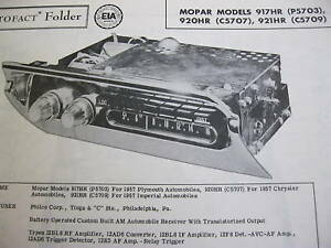 1957 CHRYSLER, IMPERIAL, PLYMOUTH MOPAR RADIO PHOTOFACT