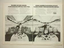 3/1972 PUB TWA AIRLINE BOEING 707 AIRLINER SERVICE AMBASSADOR ORIGINAL GERMAN AD