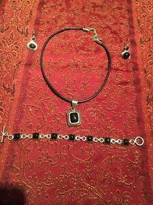 SILPADA B0568 Black Onyx Sterling Silver Toggle Bracelet Necklace Earring Set!!