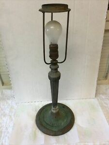 Antique Cast Iron Bronze E Miller Table Lamp Base 1150 for Panel Glass Shade