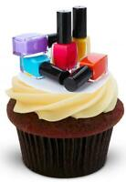 NOVELTY NAIL POLISH Various Colours 12 STAND UP Edible Cake Toppers Birthday
