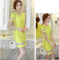 Ladies Korean Style Short Sleeve Tulle Spliced Slim Casual Summer Dress