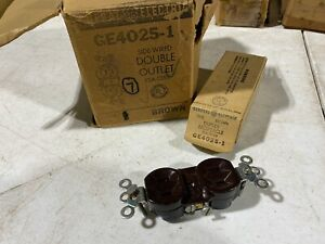 7x Vintage GE GE4025-1 Side Wired Double Outlets 15A 125V Brown, NOS