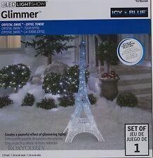 Gemmy LED Lightshow 5 ft Glimmer Icy Blue Crystal Eiffel Tower Sculpture NIB