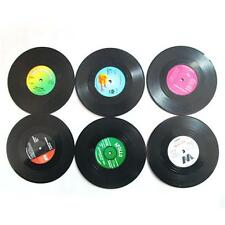 6 pcs Creative Vinyl Record Cup Drinks Coaster Holder Mat Placemat Tableware GA
