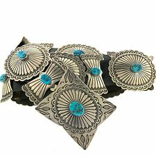 Tim Guerro Sterling Silver Morenci Turquoise Stamped Concho Leather Belt