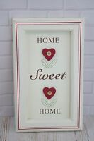 Shabby Chic Wall Plaque Home Sweet Home Red & White Wooden 32cm F0637A