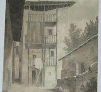 Ruelle Paysage Architecture Dessin ancien lavis Signé