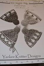 Yankee Knitter Knitting Pattern #6 Pattern Hats Children Women straight needles