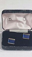 Stratton of London Cufflinks Boxed Rectangular Enamelled Royal Blue on Gold No28