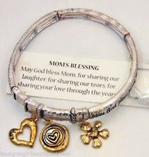 Mom Bracelet Mother Daughter Son Silver Gold Charm Stretch Bangle Love Blessing