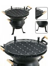 ** BBQ Grill Cast Iron & Steel Fire Bowl Classic Design Camping High Quality **