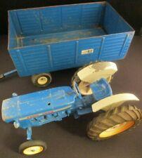 Vintage Ertl Original Old Ford 4000 Diecast Tractor and Trailer Set Farm Blue