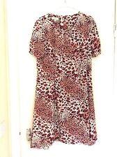 NWOT PAPAYA WEEKEND UK 14/16/18 Red Print Silky Cap Sleeve Skater Style Dress