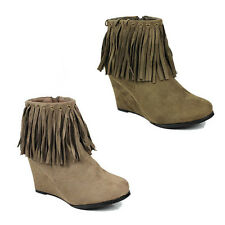 WOMENS CASUAL HIGH WEDGE HEEL TASSEL ANKLE BOOTS NEW LADIES SHOES SIZE 3-8