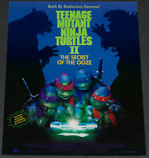 TEENAGE MUTANT NINJA TURTLES 2: SECRET OF THE OOZE 1991 ORIG. 12x15 MOVIE POSTER