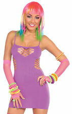 Club Candy Neon Purple Fishnet Sweetheart Dress Adult Women's Halloween Costume
