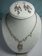 Peru Necklace & Earrings Set Rose Quartz 18 inches 2in long Earrings New