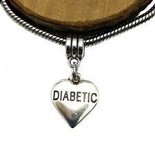Silver Tone Diabetic Awareness Heart Charm Bead For European Charm Bracelets