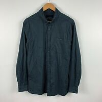 Lucid Mens Button Up Shirt Size Large Black Grey Long Sleeve Collared