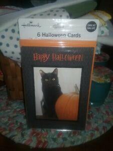 6 HALLMARK Halloween Cards NEW Black Cat Pumpkin NIP