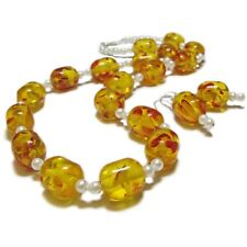 Retro Yellow Acrylic and  Glass Pearl Necklace & Earrings By SoniaMcD