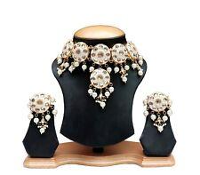 Pakistani White Meenakari Kundan Pearl Necklace Drop Antique Fashion Jewelry Set