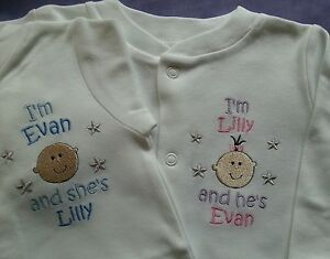 2 Personalised Twins Sleepsuits/Babygros & bibs set boy or girl, pink blue white