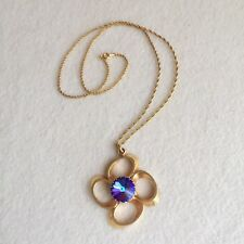 Vintage 70s Gold TONE Heliotrope PURPLE Blue RIVOLI Crystal PENDANT Necklace