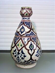 19th Century Moroccan Polychrome Enamel Pottery