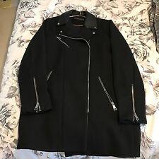 Zara Black Cloth Biker Jacket Coat Faux Leather Collar Details Size L