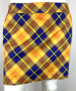 Loudmouth Ladies Golf Skort Lined Skirt Yellow Plaid size 12