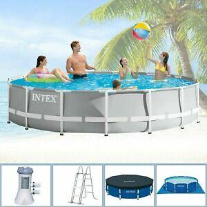 NEU** Intex 457x107 Pool Komplettset Schwimmbecken Swimming 4,57x1,07 rund 122