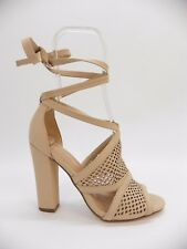 Call It Spring Womens Shoe Rounkles Peep Toe Tie Up Block Heel Sandals Beige 6.5