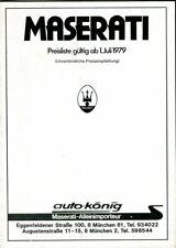 Maserati Merak & SS Kyalami Khamsin Quattroporte German prices/options brochure