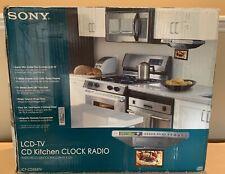"NIOB Sony 7"" LCD-TV CD Kitchen Clock Radio ICF-CD555TV Under Counter Remote"