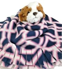 Pink Blue Squares, Fuzee Fleece Dog Blankets,Soft Pet Blanket Travel Throw Cover