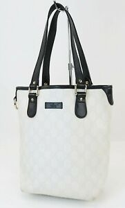Authentic GUCCI Off White GG PVC Canvas and Black Leather Tote Bag Purse #40252