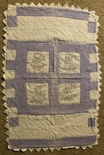 """Kitten Baby Quilt, Hand-quilted, embroidered & fabric painted - Approx. 29""""x46"""""""