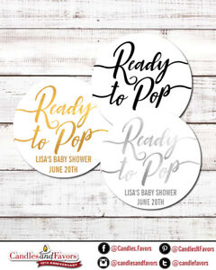 Ready To Pop® Round Personalized Baby Shower Sticker Labels   Faux Metallic Gold