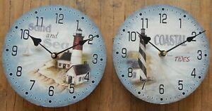 Lighthouse wall clock Coastal tides Sand & sea Nautical 2 styles UK seller