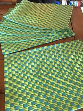 6 PLACEMATS Ribbon Turquoise Green Summer plaid plastic Rectangular