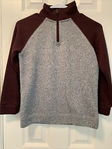 Old Navy Boys  Camo Sweater 1/4 Zip Pullover Size 8 Gray/Maroon Sweater